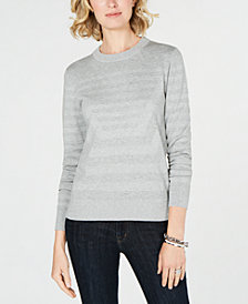 MICHAEL Michael Kors Shimmer-Stripe Sweater, Created for Macy's