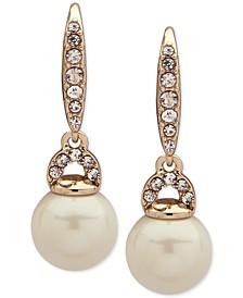 Gold-Tone Pavé & Imitation Pearl Drop Earrings