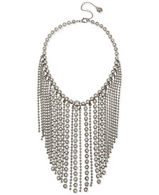 "BCBG Hematite-Tone Crystal & Chain Fringe Statement Necklace, 16"" + 3"" extender"