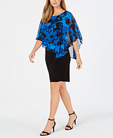 Connected Floral Cold-Shoulder Cape Dress