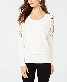 Thalia Sodi Embellished Split-Sleeve Sweater, Created for Macy's