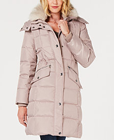 London Fog Faux-Fur-Collar Puffer Coat