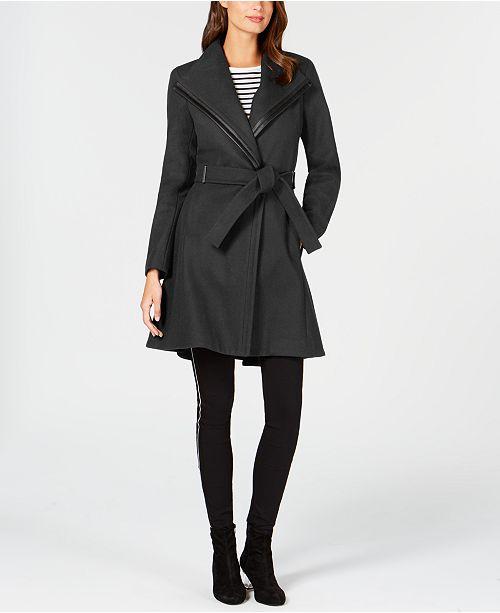 9c54125b013 Calvin Klein Faux-Leather-Trim Belted Walker Coat   Reviews - Coats ...