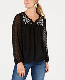 Style & Co Floral-Embroidered Clip-Dot Top, Created for Macy's