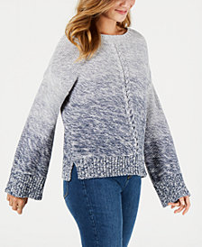 Style & Co Gradient Front-Braid Sweater, Created for Macy's