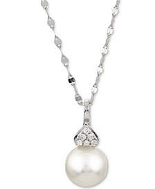 "Cultured Akoya Pearl (7-1/2mm) & Diamond Accent 18"" Pendant Necklace in 14k White Gold"