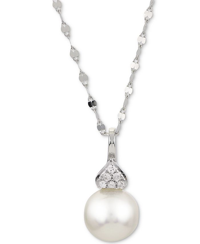 """Macy's - Cultured Akoya Pearl (7-1/2mm) & Diamond Accent 18"""" Pendant Necklace in 14k White Gold"""