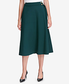 Calvin Klein Belted A-Line Midi Skirt