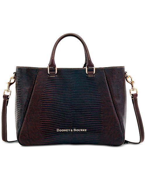 Dooney & Bourke Lizard-Embossed Leather Top-Zip Medium Satchel