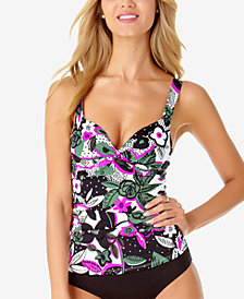 Anne Cole Bolo Babe Printed Underwire Bra-Sized Tankini Top