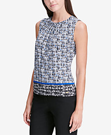 Calvin Klein Mixed-Print Pleat-Neck Shell, Regular & Petite