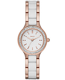 DKNY Women's Chambers Rose Gold-Tone Stainless Steel & White Ceramic Bracelet Watch 28mm, Created for Macy's