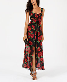 Connected Floral-Print Flyaway Maxi Dress