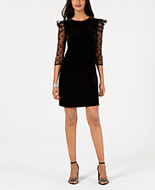julia jordan Swiss Dot Puff-Sleeve Velvet Dress
