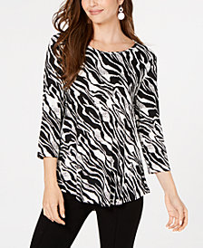JM Collection Petite Petite Printed 3/4-Sleeve Top