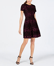 Vince Camuto Flocked Fit & Flare Dress