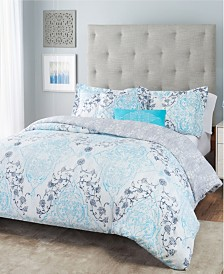 Nicole Miller Emma Damask Reversible Bedding 5-Piece Full/Queen Set