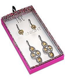 I.N.C. Day & Night Hematite-Tone 2-Pc. Set Vintage-Inspired Drop Earrings, Created for Macy's