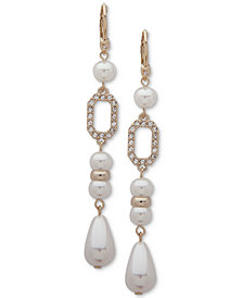 Ivanka Trump Gold-Tone Imitation Pearl & Cluster Drop Earrings