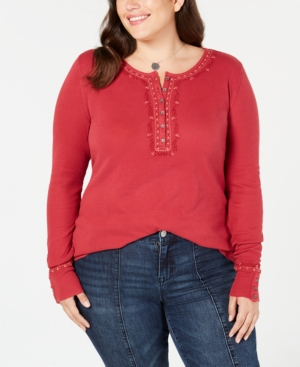 710a0bdd0f55b Lucky Brand Trendy Plus Size Cotton Embroidered Henley Thermal Top In  Persian Red