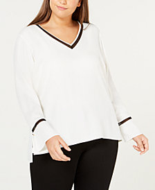 Calvin Klein Plus Size Mesh-Trim Top