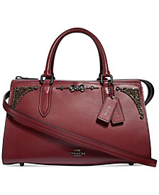 COACH Selena Gomez Leather Crystal Embellished Bond Bag Satchel