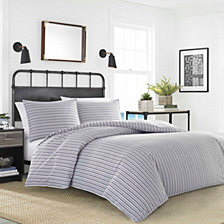 Nautica Coleridge Stripe Charcoal Duvet Set Collection