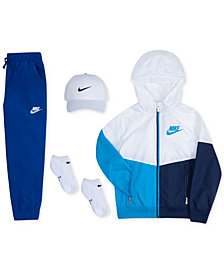Nike Little Boys Hat, Colorblocked Hooded Jacket, Jogger Pants & Ankle Socks