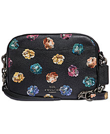 COACH Rainbow Rose Print With Leather Sequins Camera Bag