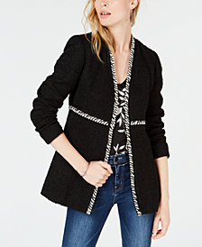 Bar III Braided-Trim Tweed Blazer, Created for Macy's