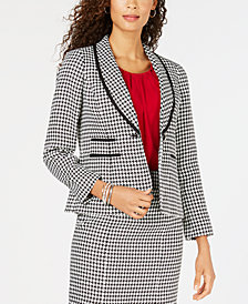 Kasper Petite Shawl-Collar Houndstooth Jacket