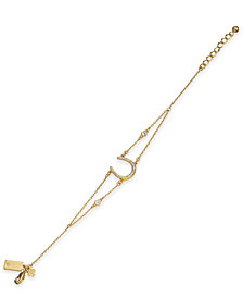 kate spade new york Gold-Tone Pavé Horseshoe Double Strand Bracelet