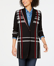Charter Club Bold Plaid Cardigan, Created for Macy's