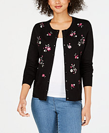 Charter Club Long-Sleeve Floral-Embroidered Cardigan, Created for Macy's