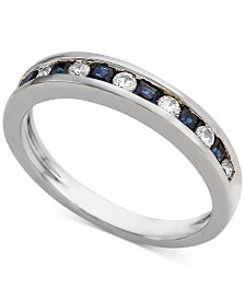 Sapphire (1/3 ct. t.w.) & Diamond (1/5 ct. t.w.) Band in 14k White Gold (Also Available in Emerald and Certified Ruby)