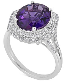 Amethyst (5 ct. t.w) and White Topaz (1 ct. t.w) Ring in Sterling Silver