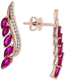EFFY® Ruby (1-1/4 ct. t.w.) & Diamond (1/8 ct. t.w.) Drop Earrings in 14k Rose Gold