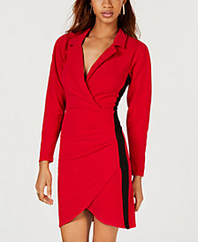 Almost Famous Juniors' Racing Stripe Blazer Wrap Dress
