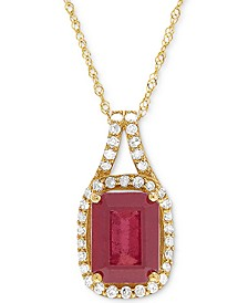 """Certified Ruby (2-1/3 ct. t.w.) and Diamond (1/5 ct. t.w.) 18"""" Pendant Necklace in 14k Gold"""