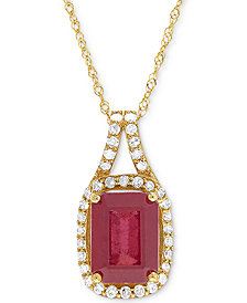"Certified Ruby (2-1/3 ct. t.w.) and Diamond (1/5 ct. t.w.) 18"" Pendant Necklace in 14k Gold"