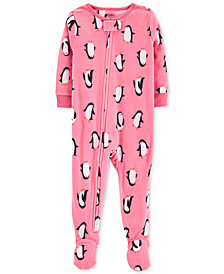 Carter's Baby Girls Penguin-Print Footed Pajamas