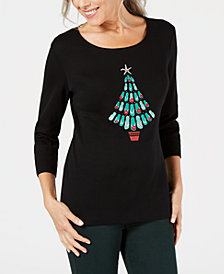Karen Scott Cotton Embellished Flip-Flop Christmas Top, Created for Macy's