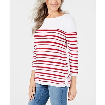 Karen Scott Striped Cotton Lace-Up Sweater