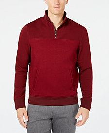 Ryan Seacrest Distinction Men's Interlock Mixed-Media Quarter-Zip Sweater, Created for Macy's