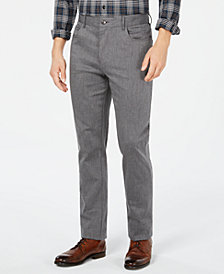 Ryan Seacrest Distinction™ Men's Heather Gray Cross Hatch Slim Fit Pants, Created for Macy's