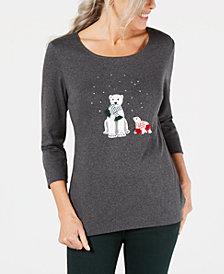 Karen Scott Cotton Embellished Polar Bear Top, Created for Macy's