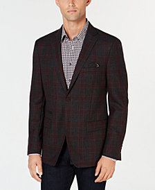 Tallia Men's Big & Tall Slim-Fit Charcoal Plaid Wool Sport Coat