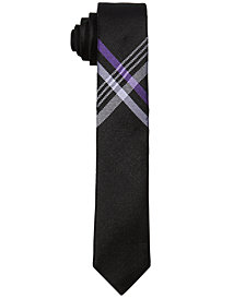 DKNY Big Boys Plaid Cross-Hatch Necktie