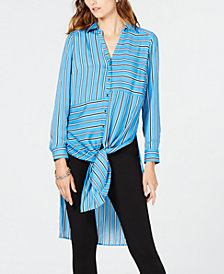 I.N.C. Petite Striped Tunic Shirt, Created for Macy's