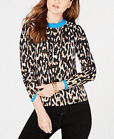 I.N.C. Animal-Print Sweater, Created by Macy's
